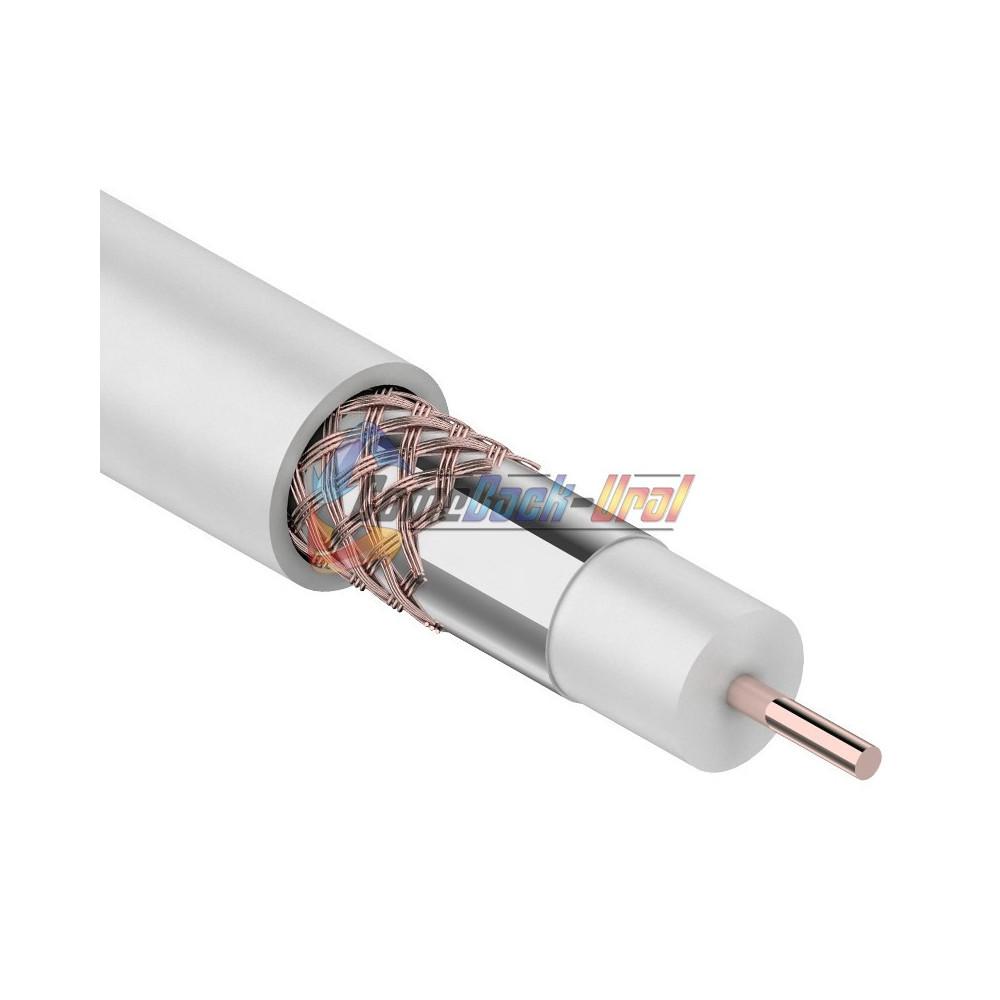 Кабель RG-6U+CU, Cu/Al/Cu (64%), 75 Ом, 100м., белый REXANT