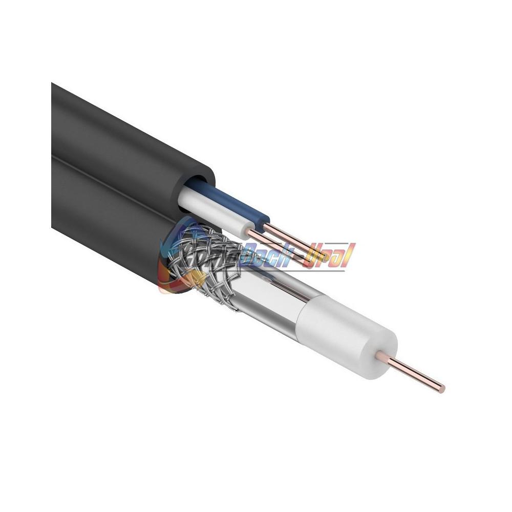 Кабель для видеонаблюдения ККСВ-П + 2х0.5мм., 100м., черный REXANT