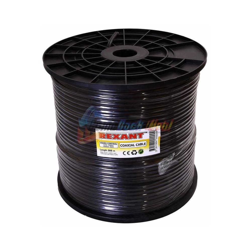 Кабель для видеонаблюдения ККСВ-П + 2х0.5мм., 305м., черный REXANT