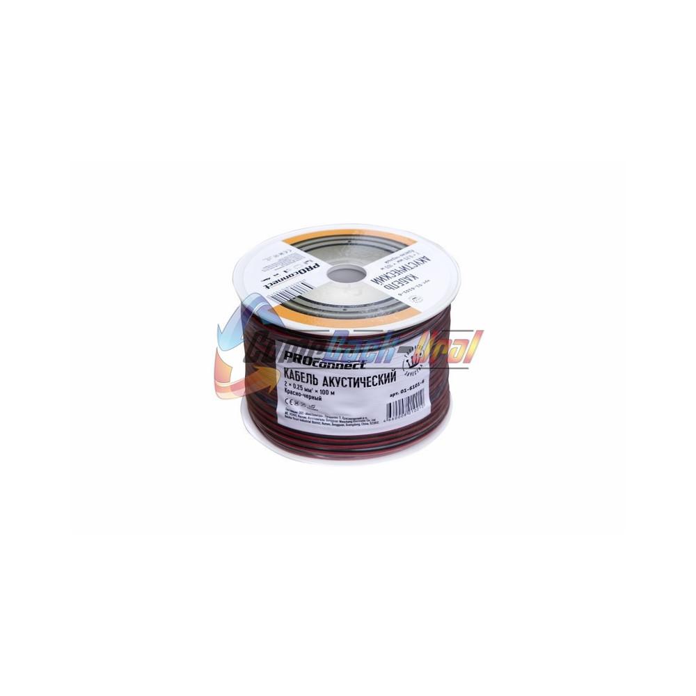 Кабель акустический, 2х0.25 мм², красно-черный, 100 м. PROCONNECT