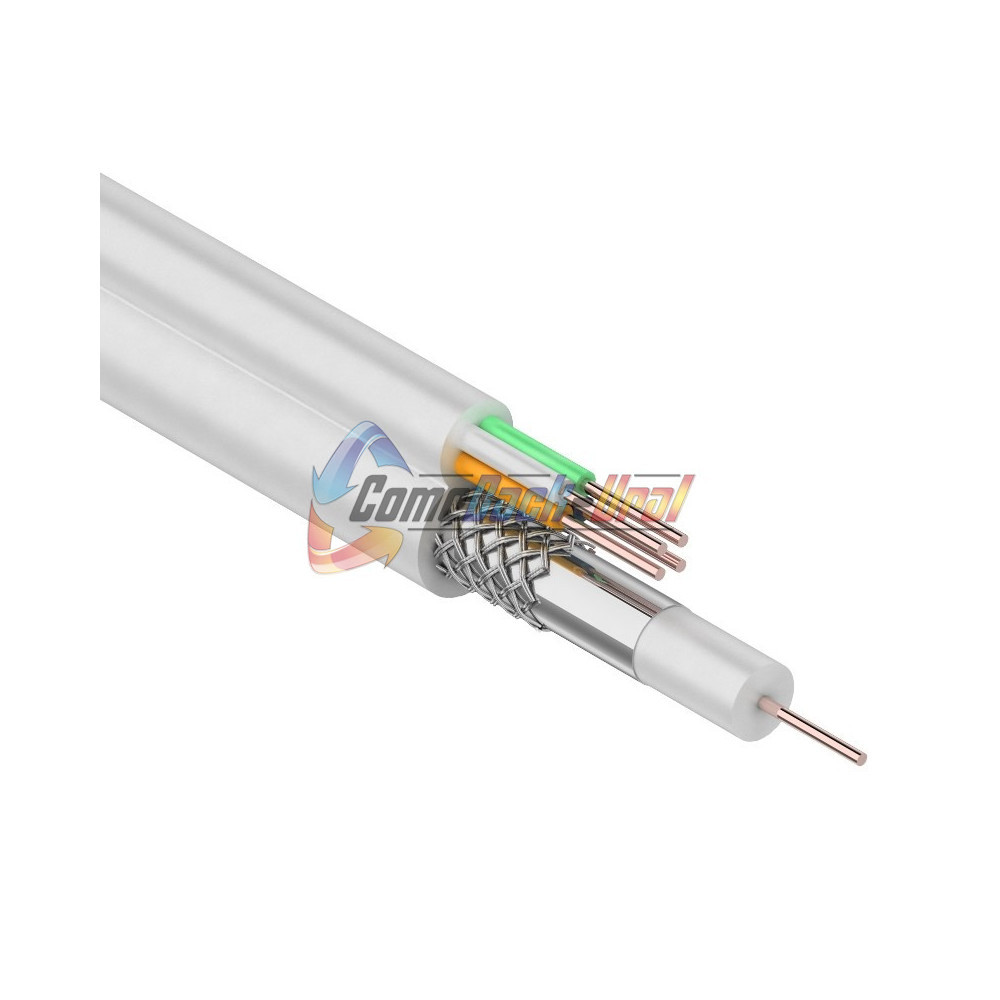 Кабель для видеонаблюдения ККСВ-В + 4х0.5мм., 100м., белый REXANT