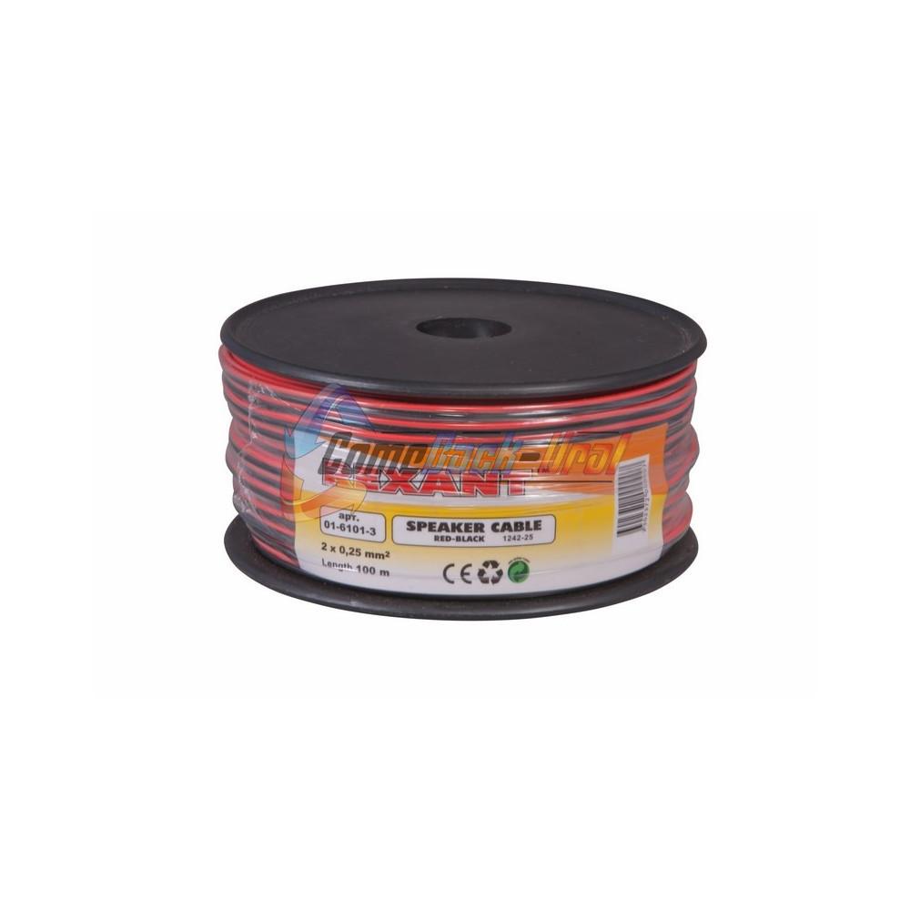 Кабель акустический, 2х0.25 мм², красно-черный, 100 м. REXANT