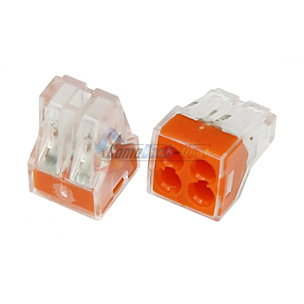 Экcпресс-клемма, 4-проводная до 2,5 мм², прозрачная (100 шт./уп.) (773-324) REXANT
