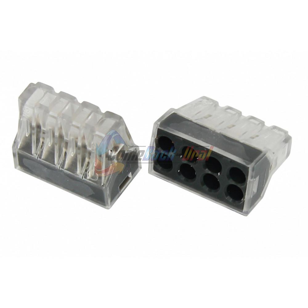 Экcпресс-клемма, 8-проводная до 2,5 мм², прозрачная (50 шт./уп.) (773-328) REXANT