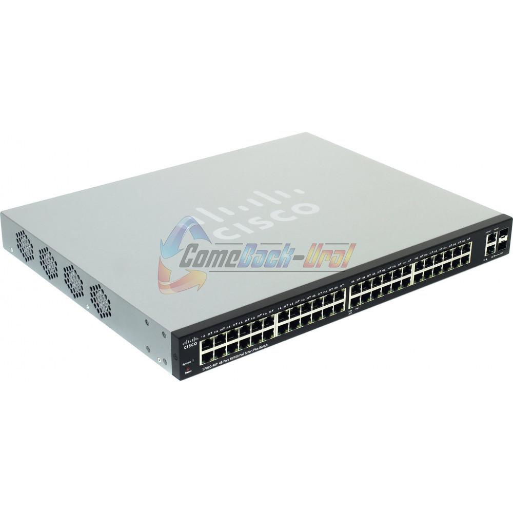 SF220-48P-K9-EU Коммутатор 48-портовый SF220-48P 48-Port 10/100 PoE Smart Plus Switch