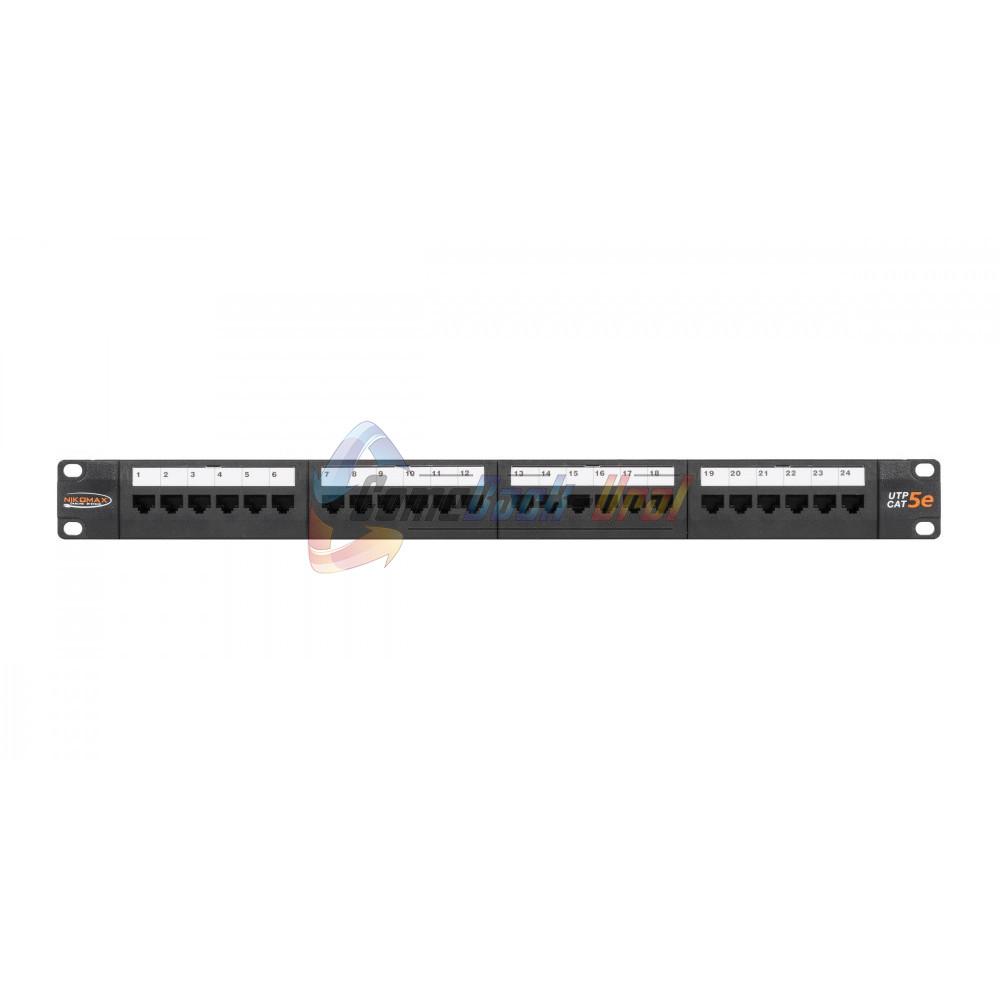 """Патч-Панель 19"""", 1U, 24 порта, Кат.5e, RJ45/8P8C, неэкран., черная NIKOMAX"""