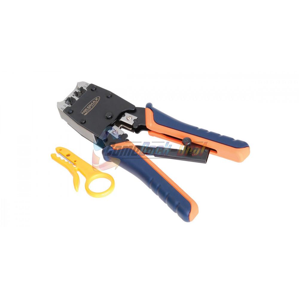 Инструмент обжимной профессиональный, 2 гнезда, торцевой, с храповиком, совместим с коннекторами: RJ45/8P8C, RJ12/6P6C, RJ11/6P4C NIKOMAX